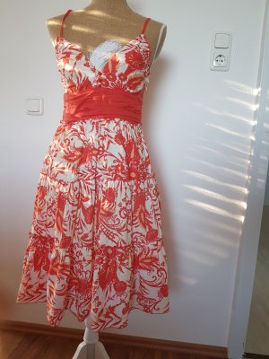 Kavi Vestido estilo flounce blanco-naranja