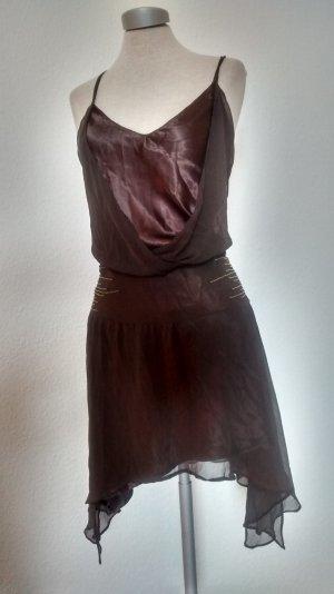Sommerkleid Party Kleid braun goa Gr UK 16 EUR 42 South Satin Chiffon Pailletten