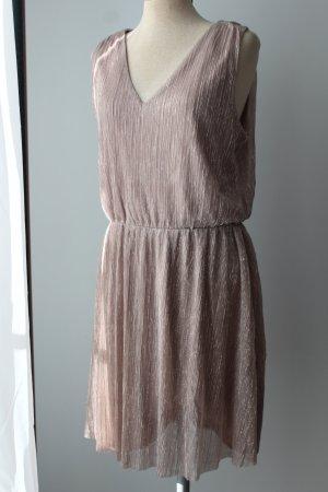 Sommerkleid Partykleid Cocktailkleid plissiert Kleid Minikleid metallic Gr. 42  L rose g