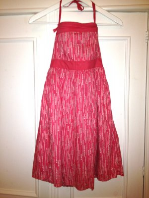 Sommerkleid Punkte Bandeau-Kleid Korall-farben Neckholder-Kleid pink