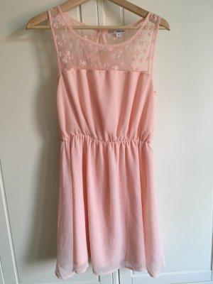 Sommerkleid rosa mit Spitze 38