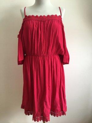 Sommerkleid rot Brombeere mit Spitze