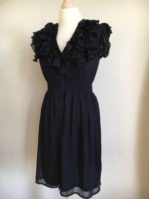 Sommerkleid rüschen dunkelblau h&m 34 Kleid