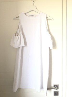 Sommerkleid Schulterfrei Rüschen Oversized Weiß Mini-Midi