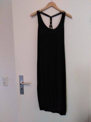 Sommerkleid Schwarz mit Geflecht und Holzkugeln