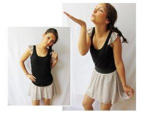 Shirt Dress cream-black viscose