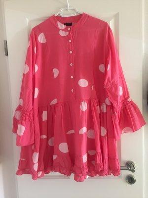 Robe Hippie rouge framboise-blanc coton