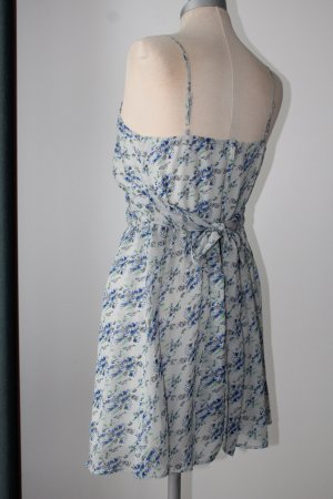 Sommerkleid Trägerkleid g21 Gr. S 36 grau blau Chiffon Blümchen Schleife Minikleid