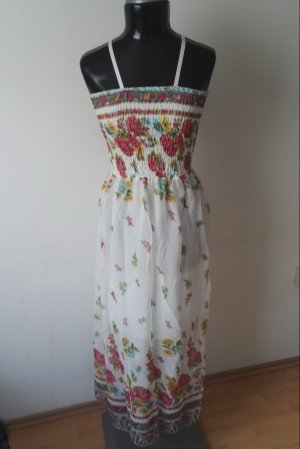 Sommerkleid Trägerkleid Maxikleid Kleid Gefüttert in Weiss mit Blütenm. Gr.36