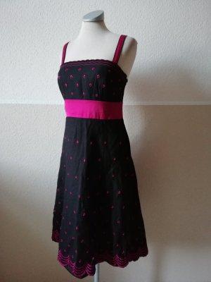 Sommerkleid Trägerkleid schwarz bestickt Lochstickerei Leinen Seide Viskose Monsoon Gr. M L 38 40