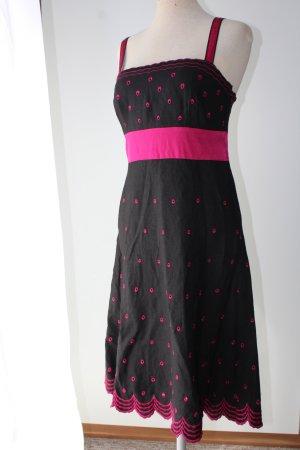Sommerkleid Trägerkleid schwarz bestickt Lochstickerei Leinen Seide Viskose Monsoon Gr. M L 40