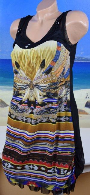 Vestido tipo overol multicolor tejido mezclado