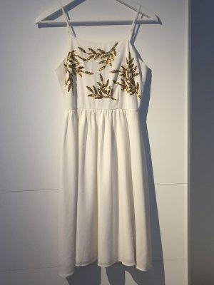 Sommerkleid vero Moda XS Pailletten Gold weiß