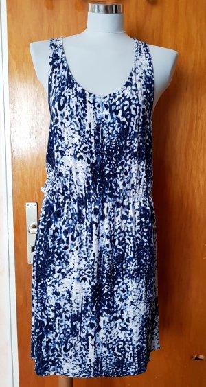 Sommerkleid von H&M Midi Kleid blau-weiß gemustert Knielang S