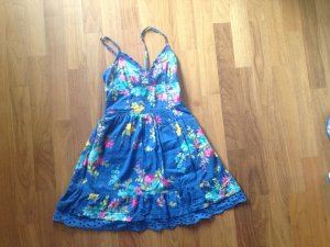 Sommerkleid von Hollister Gr. XS in jeansblau, Blumenaufdruck