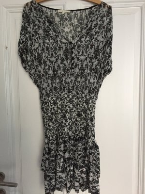 Maje Flounce Dress black-white