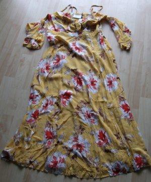 Cut out jurk geel Viscose