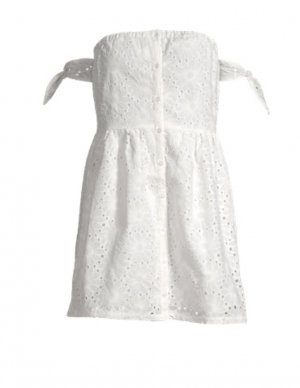 Sommerkleid Weiß Häkel Schulterfrei