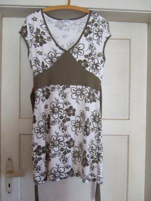 Sommerkleid weiß mit oliven Blumen