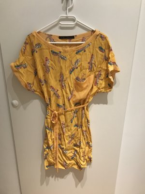 Zara Robe tunique orange clair-orange doré viscose