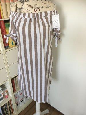 Vestido de un hombro blanco-marrón claro