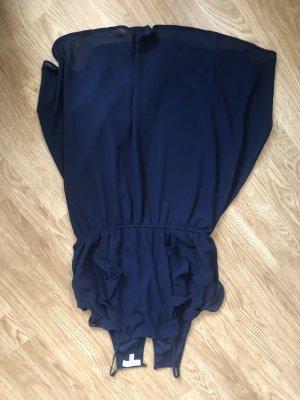 Robe péplum blanc-bleu foncé