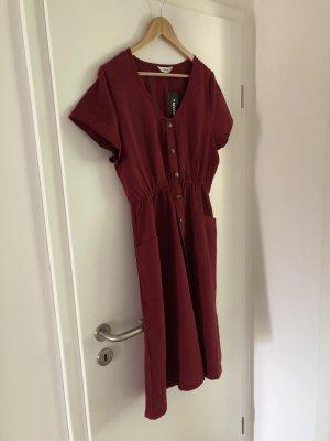 Midi-jurk karmijn Katoen