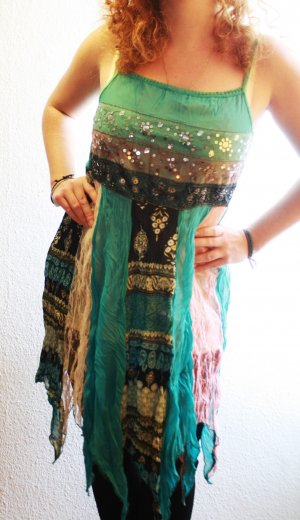 Sommerlich Buntes Kleid mit Pailletten Gr 36,38 Ibiza Style