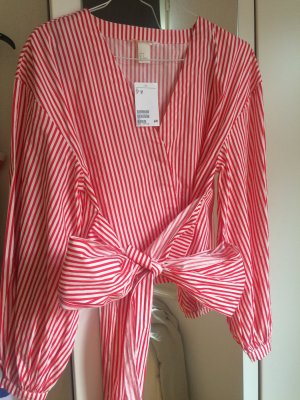 H&M Tie-neck Blouse white-red