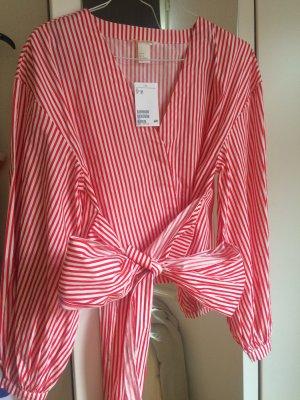 H&M Blouse avec noeuds blanc-rouge
