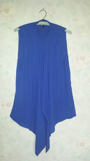 Tie-neck Blouse blue polyester