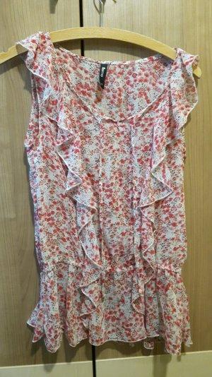 Sommerliche Bluse mit rot weißem Blumenmuster