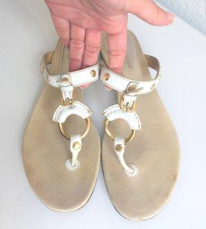 Sommerliche D&G Dolce & Gabbana Flip Flops Sandalen, Gr 39 weiss