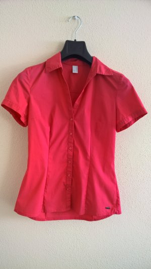 QS by s.Oliver Blouse à manches courtes rouge framboise-magenta coton