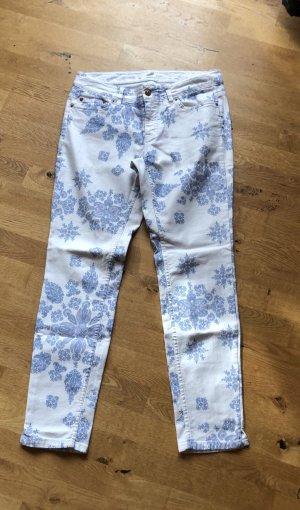 H&M L.O.G.G. Pantalon fuselé blanc-bleu