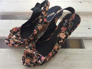 Buffalo London Wedge Sandals multicolored cotton