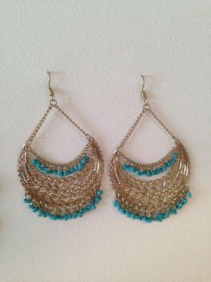 Sommerliche Ohrringe in gold/türkis