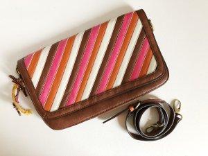 Sommerliche PARFOIS Handtasche/Clutch. Braun, weiß, pink, orange.