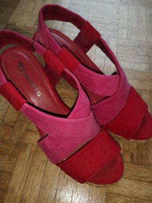 Tamaris Pumps met sleehak rood-roze