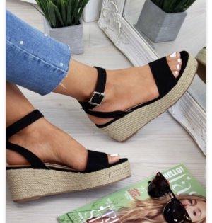 Espadrille sandalen zwart-camel