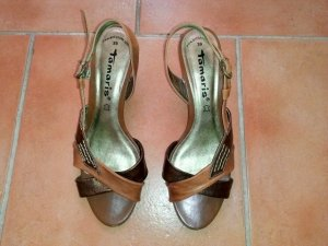 Tamaris High-Heeled Sandals gold-colored-brown leather