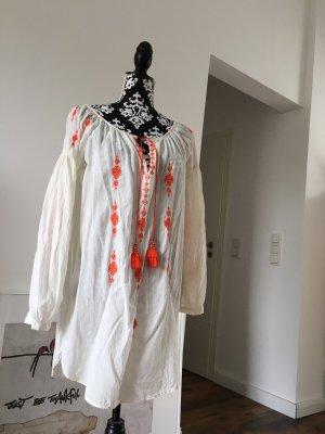 H&M Robe tunique blanc cassé-orange foncé