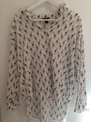 Sommerliche weiße Bluse mit schwarzen Giraffen Gr. 36