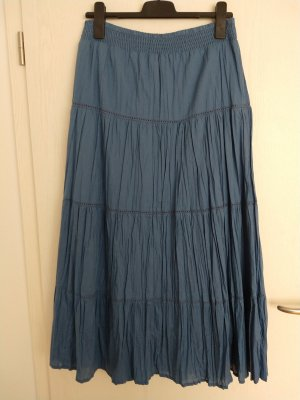 Yessica Jupe à plis bleu-bleuet coton