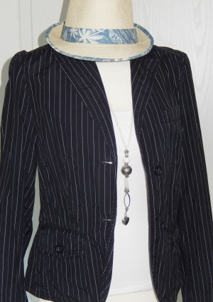 Esprit Denim Blazer dark blue-white cotton