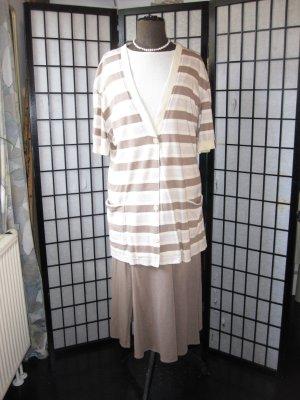 Jupe mi-longue marron clair coton