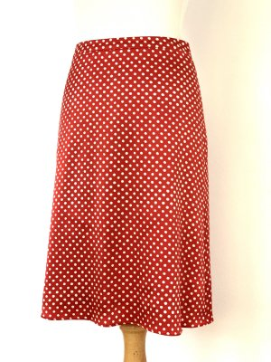 René Lezard Silk Skirt brick red-natural white silk