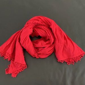 Boss Orange Summer Scarf brick red cotton