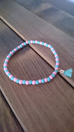 Sommerliches Armband (türkis / rosa)