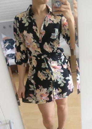 sommerliches Blusenkleid in schwarz mit Blumenprint, Größe 34, NEU